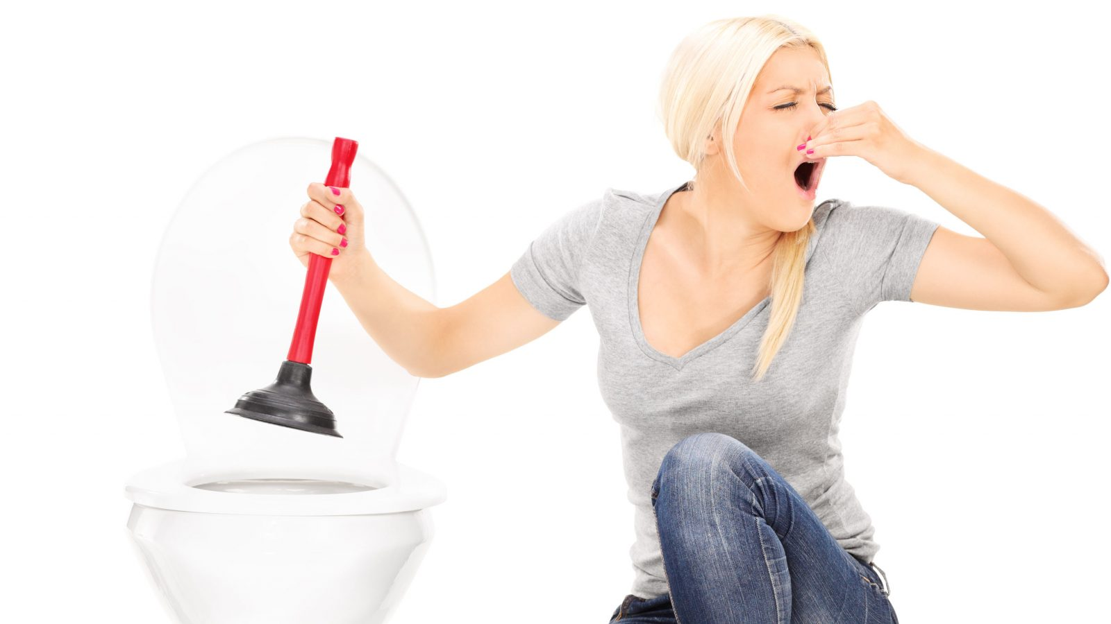 woman unclogging toilet - steatorrhea is a possible sign of pancreatic cancer