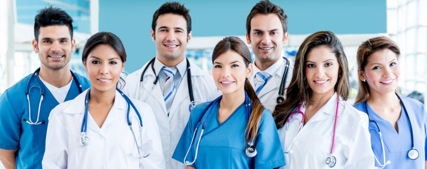 A group of smiling doctors