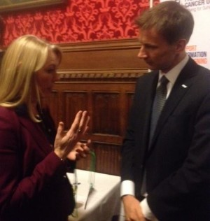 Ali Stunt with Jeremy Hunt at APPG Inquiry report launch 2013