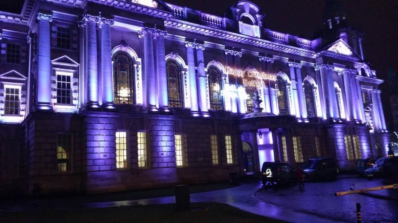 City Hall Belfast in purple