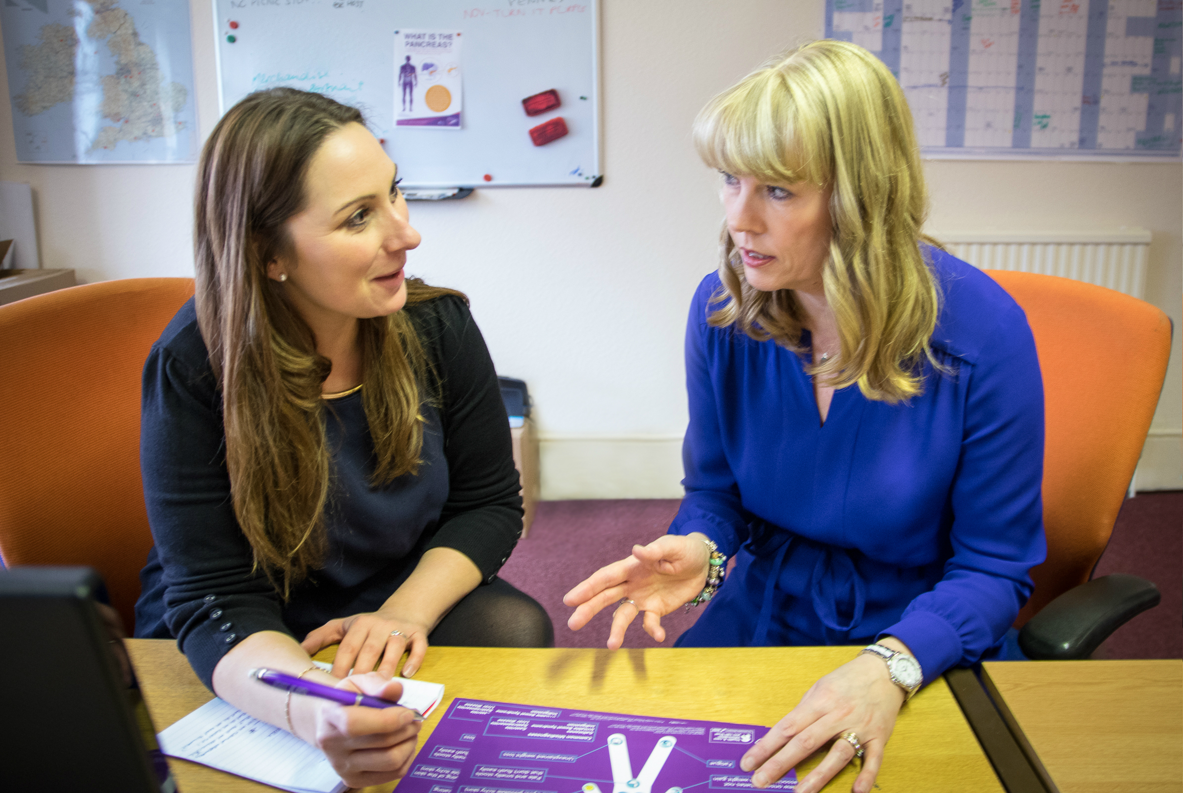 A photo of Lucy de'Lemos, Fundraising Manager with Ali Stunt, Chief Executive of Pancreatic Cancer Action