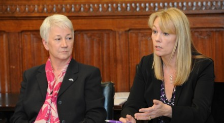 A photo of Ali Stunt, CEO of Pancreatic Cancer Action with Maggie Blanks of Pancreatic Cancer Research Fund at the All-Party Parliamentary Group on Pancreatic Cancer.