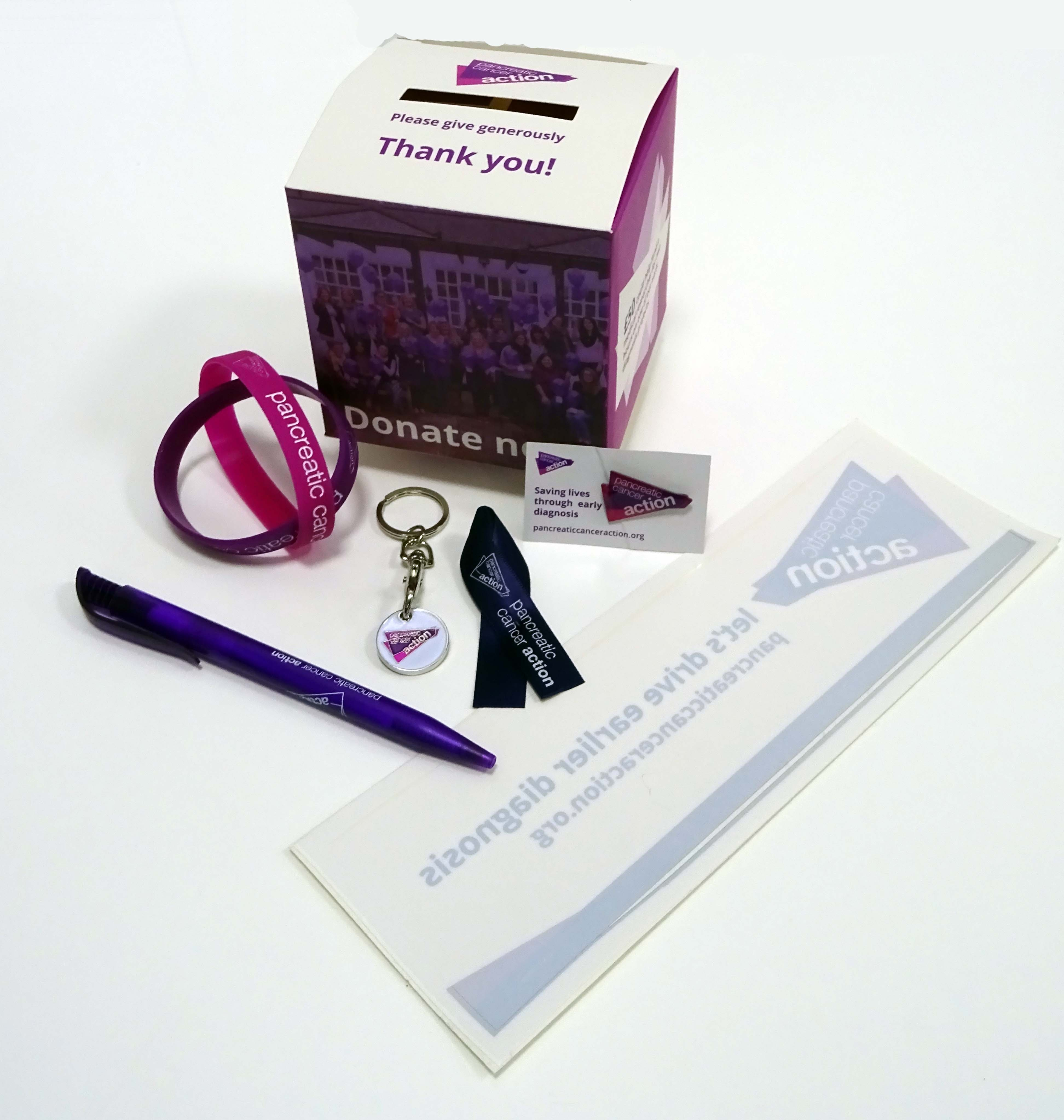 A photo of a supporter pack from Pancreatic Cancer Action