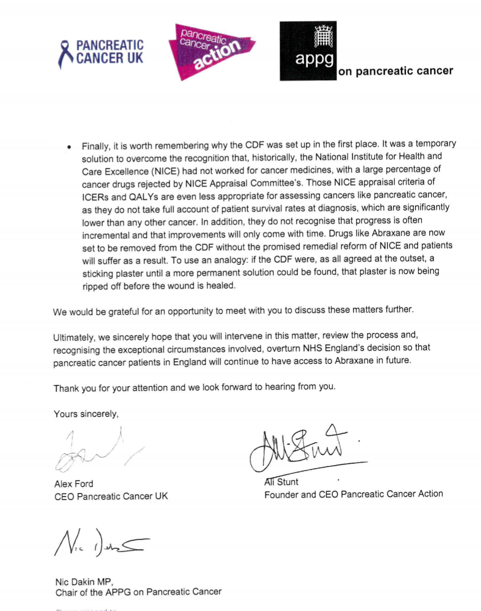 Letter to jeremy hunt re abraxane pancreatic cancer action image spiritdancerdesigns Images