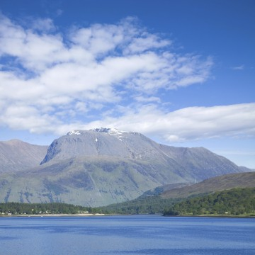 Ben Nevis , highest mountain in the British Isles, view from the road to Glenfinnan over Loch Eil (best you can get driving)