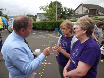 Isabel campbell and Alex McAfee in discussion with Danny Kinahan - Westminster MP for South Antrim