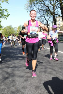 Sophie Grubb running to raise money for a Pancreatic Cancer Charity.