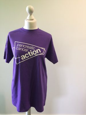 Pancreatic Cancer Action purple t-shirts.
