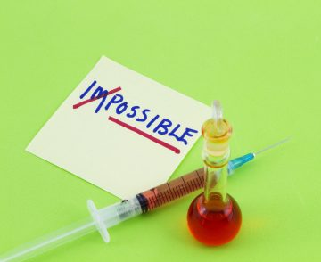 "Word ""impossible"" transformed into ""possible"" on green background with syringe and beaker suggests evolving opportunities, treatments, and cures;"