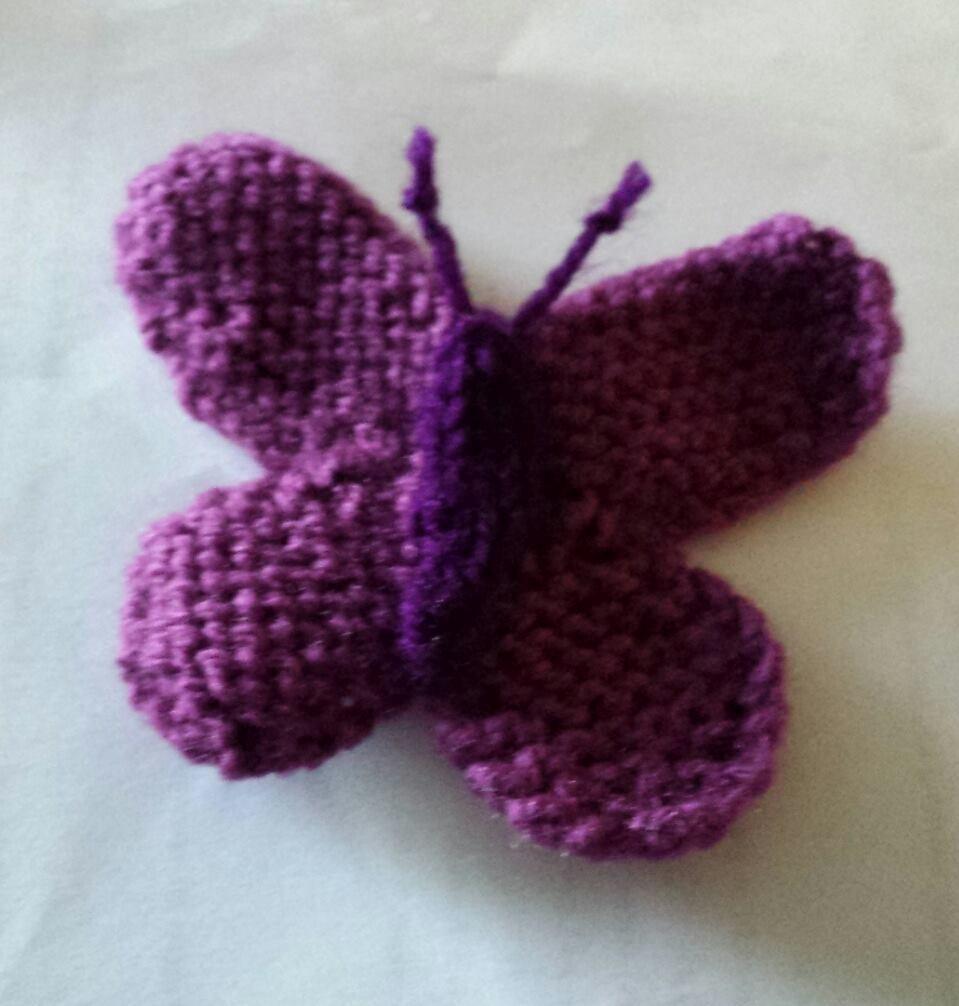 knitting purple butterfly