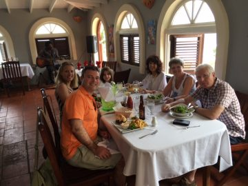 Eileen at lunch in Barbados at one of her favourite places