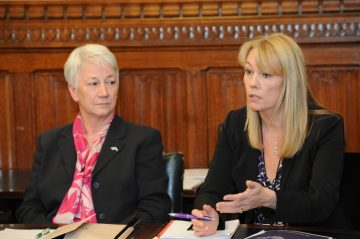 Maggie Blanks (left), CEO Pancreatic Cancer Research Fund and Ali Stunt, CEO Pancreatic Cancer Action a a APPG PC meeting