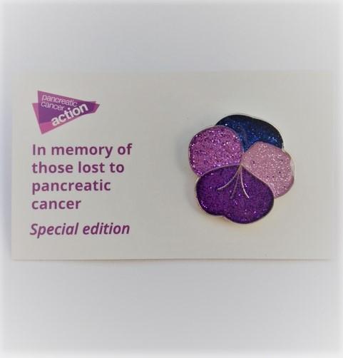 Glitter pansy pin