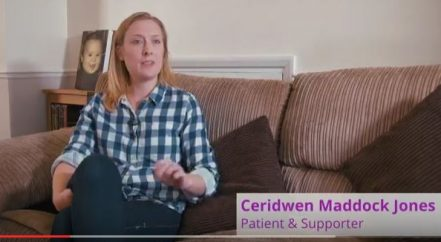 Screenshot of patient story video, Ceridwen Maddock Jones