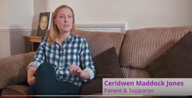 Screenshot of patient story video, Ceridwen Maddock Jones