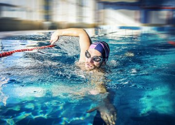 A photo of a swimmer. Take part in Pancreatic Cancer Action's Swim for Survival to raise funds and awareness of pancreatic cancer this New Year.