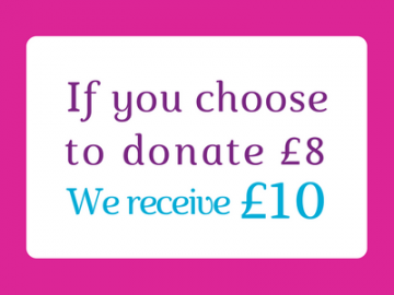With payroll giving if you choose to donate £8 we receive £10