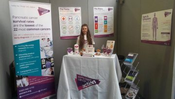 A photo of Issy Smith raising awareness of pancreatic cancer at the 50+ show