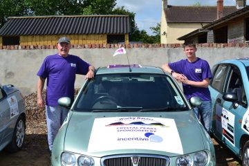 A photo of Wacky Racer's Stephen and Daniel with their car, raising funds for Pancreatic Cancer Action