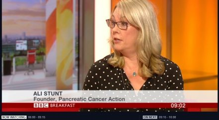Ali Stunt of BBC Breakfast discussing her ten-year survival.