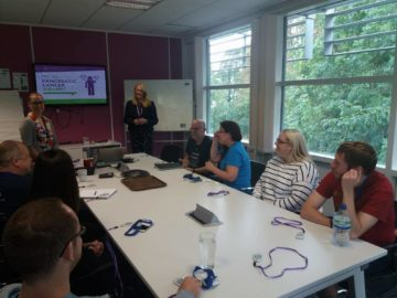 A photo of Ali Stunt giving an occupational health talk for Pancreatic Cancer Action