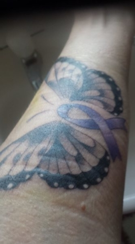 Susan Symes Butterfly purple cancer ribbon tattoo 💜