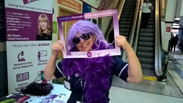 Having fun and helping to raise awareness of pancreatic cancer at The Royal Liverpool Hospital. Thank you Mary Whitby for sharing! xx  #WPCD #turnitpurple
