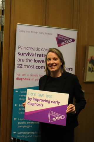 Tracey Crouch MP at Pancreatic Cancer Action's parliamentary drop-in session