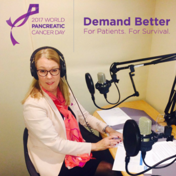 A photo of Pancreatic Cancer Action Chief Executive, Ali Stunt, demanding better on dozens of radio stations on World Pancreatic Cancer Day 2017