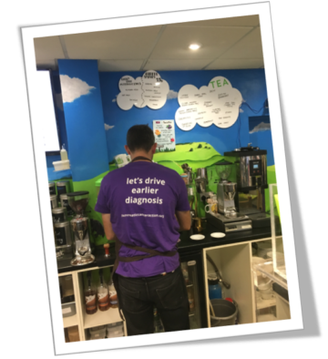 A photo of Dylan's Ice Cream, Haselmere raising awareness of pancreatic cancer