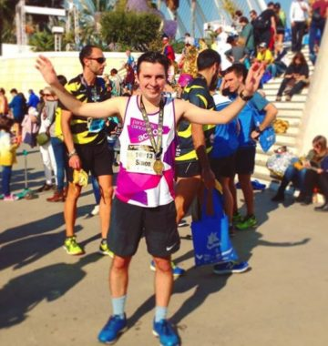 Simon after completing the Valencia Marathon
