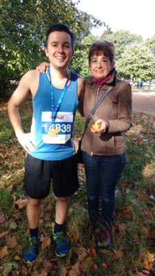 Simon with his Mum after running the Royal Parks Half