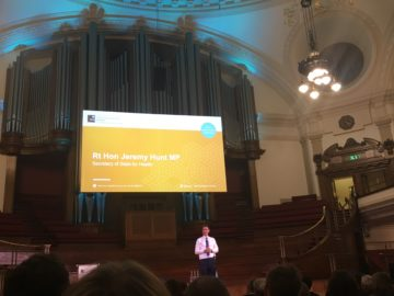 A photo of the Right Honourable Jeremy Hunt MP at the Britain Against Cancer Conference