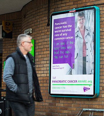 A photo of a poster featuring Jean Clark as part of Pancreatic Cancer Action's national awareness campaign for Pancreatic Cancer Awareness Month