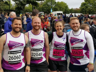 A photo of a group of runners getting ready to take part in the Great North Run to fundraise for Pancreatic Cancer Action this New Year.