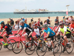 A photo of people taking part in the London to Brighton cycle ride. Raise fund for Pancreatic Cancer Action this New Year.