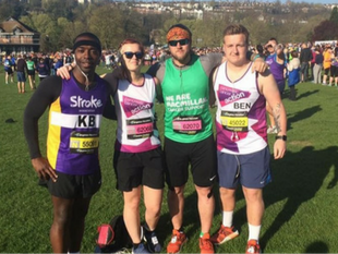 A photo of a group of runners preparing to take part in the Brighton Marathon to raise funds for Pancreatic Cancer Action. this New Year