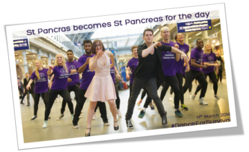 Pancreatic Cancer Action's 2014 Flash Mob at St Pancras International