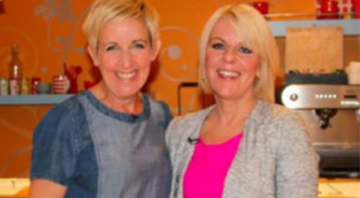 Maggie Watts and Julie Hesmondhlagh who is the patron of the hope is contagious campaing