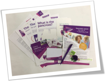 A Pancreatic Cancer Action pharmacy awareness pack. Distribute information in your local pharmacy