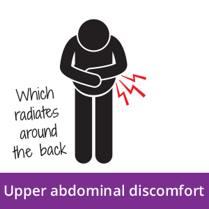 An icon of a person with upper abdominal discomfort, a possible early signs of pancreatic cancer.