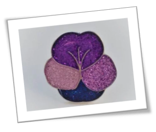 Valentine's day purple pansy badge for pancreatic cancer action