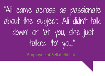 A quote from a Sellafield Ltd employee about Ali Stunt, the CEO and founder of Pancreatic Cancer Action