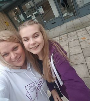Natalie and her daughter Millie handed out information packs to improve GP awareness