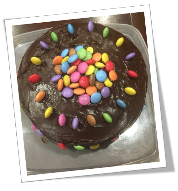 A picture of a cake that was baked fora fundraising event, run by Emma Hardy