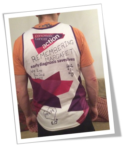 A picture of Steve Morton in a Pancreatic Cancer Action running vest