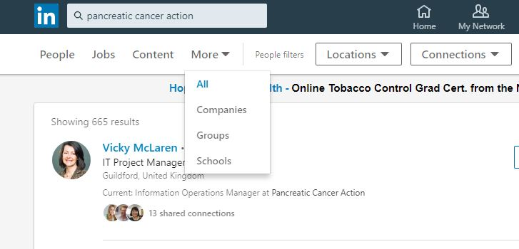 A screenshot of how to join Pancreatic Cancer Action's Linked In group