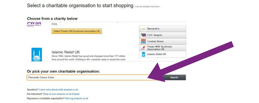 A screenshot explaining how to get started on AmazonSmile