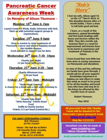 A picture of a poster for events for Remembering Alison