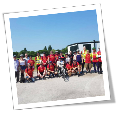 A picture of a group of cyclists who have come together for Remembering Alison